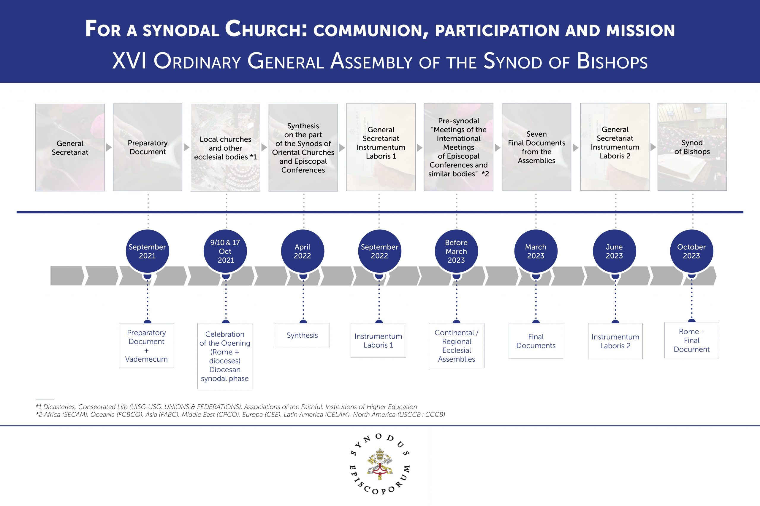An infographic showing the timeline for the synod on synodality. / Vatican Media.